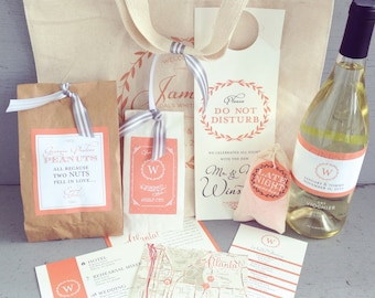 Wedding Guest Welcome Bag with Printed Canvas Tote & Accessories - 10 Customizable Design Options