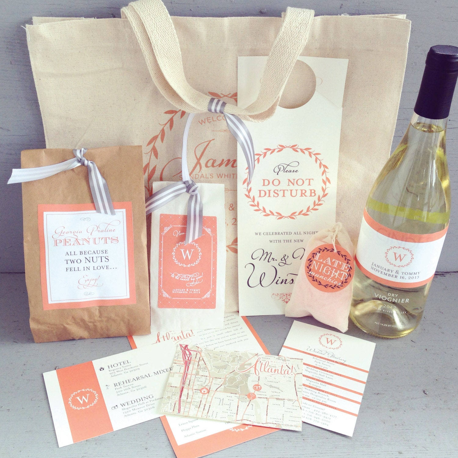 Wedding Guest Welcome Bag with Printed Canvas Tote &