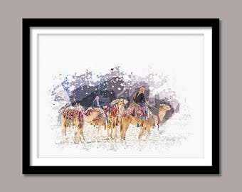 Camels Print, Camels Digital Print, Animal Printable Art, Camels Abstract Print, Animal Printable Poster, Watercolor Art, Wall Decor