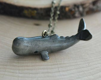 Hand Painted Porcelain Sperm Whale Necklace, Antique Bronze Chain, Vintage Style, Ceramic Animal Pendant & Chain (CA098)