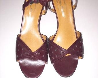 Vintage Burgundy Etienne Aigner Open Toe Strappy Sandals