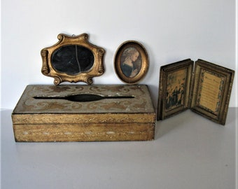 4 vintage pieces of wood Florentine home decor, Tissue Kleenex box, Mirror, Madonna wall plaque,Made in Italy, Marriage Blessing,  gift idea