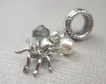 Spider Charm for European Bracelets in Sterling Silver, Bug Dangle Bead