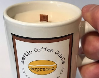 Soy and Coconut Wax, Wood Wick Candle in a Cute Little Coffee Mug