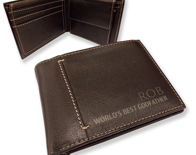 Personalised engraved mens LEATHER WALLET gift with coin purse, World's Best GODFATHER bifold personalized wallet - JOSL10