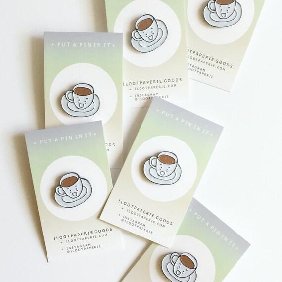 Glitter Cuppa Joe or Tea Enamel / Lapel Pin for Coffee and Tea Lovers