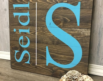 Rustic Wood Sign / Last Name Wood Sign /  Monogram Sign / Fifth Year Anniversary Gift / Housewarming Gift / Wedding Gift /  Wood Sign / Sign