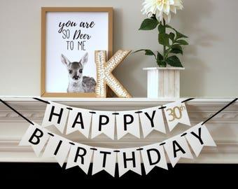 custom birthday banner - birthday decorations - Happy Birthday banner - Happy 30th Birthday banner