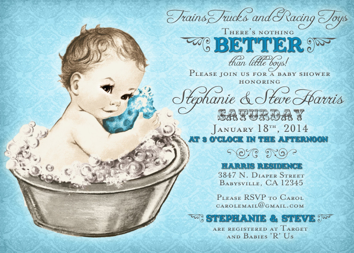 Coed Baby Shower Invitation For Boy Vintage Baby Shower