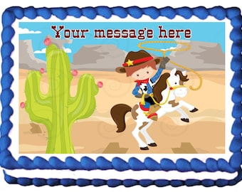 COWBOY edible cake topper party image
