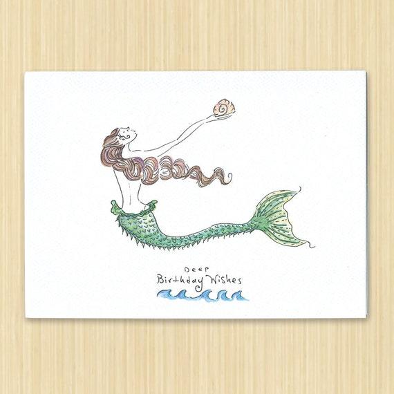 Mermaid birthday card birthday card hand drawn birthday like this item bookmarktalkfo Gallery