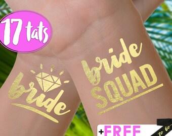 Set of 17 'Bride Squad' Tattoos | bachelorette party tattoos, metallic temporary tattoos, gold foil tattoos, bridesmaid gifts, bride squad