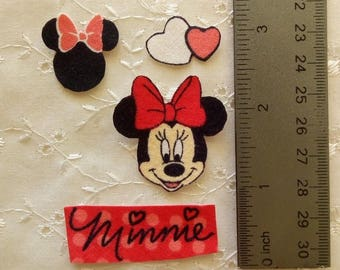 Minnie Mouse 4pc set Iron On Fabric Appliques No Sew