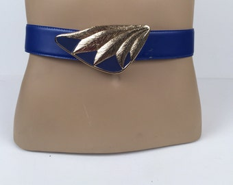 Vintage Bright Blue Belt with Larged and Blue Buckle