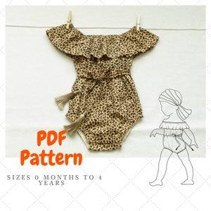 Off the shoulder baby romper pattern,  Baby Romper Pattern, Peasant style baby Romper, Playsuit for baby pattern, Bohemian Romper PDF
