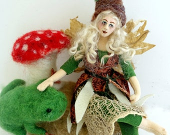 Fairy art cloth doll needle felted forest sculpture unique gift poseable Forest Dwellers