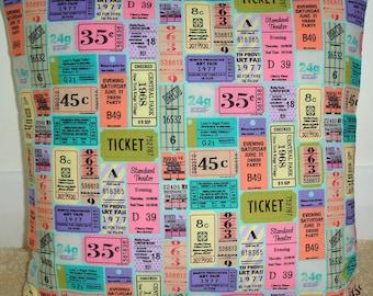 "16x16 Pillow Cover Theatre Party Movie Tickets Cover 16"" Pink Purple Green Orange Theater Cinema Ticket Cushion Slip Sham Case"