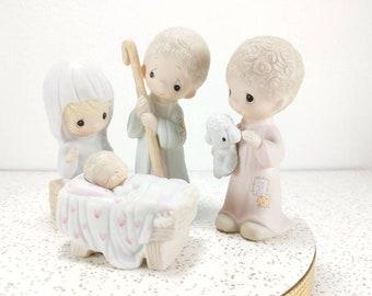 "Vintage 1979 Precious Moments ""Come Let Us Adore Him"" E-2800 Nativity Set Figures - Mary, Baby Jesus, Joseph, Sheppard - Jonathan and David"