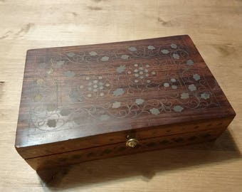 Antique wooden box jewellery holders inlaid in brass