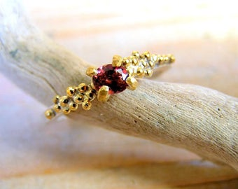 Pink Tourmaline Sterling Silver Ring with Gold Plated granules. Engagement Ring. Nature inspired cluster ring.