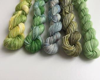 5 Merino Sock minis A little bit of green, blue and yellowww
