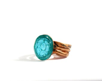 Stacking ring Textured ring bands Copper jewelry ring Knuckle rings Womens ring bands Copper patina ring Wide copper ring Turquoise rings