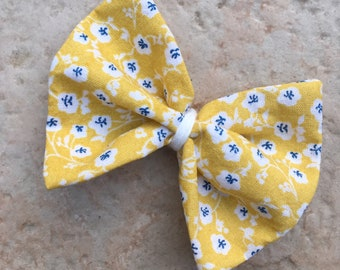 Large hair bow - Alligator Clip - yellow Liberty