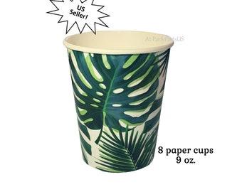 palm leaf cups, luau party decorations, tropical wedding, summer birthday, green branches, island theme, Hawaiian, fiesta, retirement