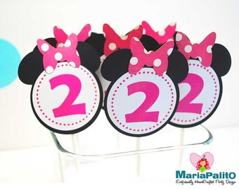 12 Minnie Mouse Cupcake Toppers, Birthday cupcake toppers, Minnie Die cut with bows and custom Number inside A967