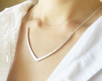 Silver V Necklace - Simple V Necklace, Big V Necklace, Delicate Necklace, Layering Necklace, Minimalist Jewelry, Modern Necklace
