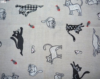 Fabric C984 cats white beige coupon amid 47x50cm