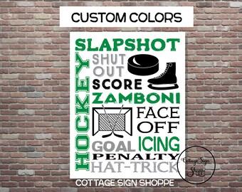 Ice Hockey Sign, Ice Hockey Wall Art, Hockey Poster, DIY PRINTABLE, YOU Print,Custom Colors,Hockey Typography,Hockey Gifts,Ice Hockey Decor