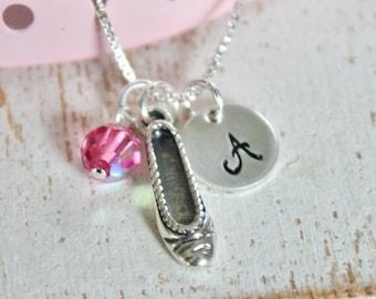 Girls Ballet Necklace, Dancer Ballerina Sterling Silver Charm, Custom Personalized Children's Jewelry