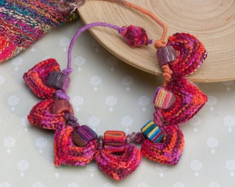 Colorful statement necklace, unique fiber jewelry, knitted heart necklace with bamboo beads, both sides wearable, OOAK