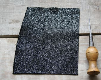 leather suede black sequins size A6