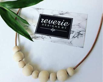 Natural wooden bead necklace