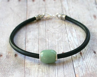 Green Aventurine and Sterling Silver Bead Leather Bracelet