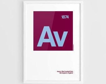 Aston Villa FC Football Elements Poster - A3 Wall Art Typography Print Poster, Minimalist Poster, Football Poster, Soccer Poster