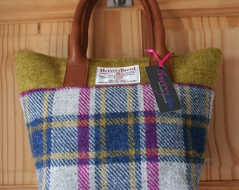 Ladies grey pink and blue Harris Tweed small tote bag handbag with pink and floral lining