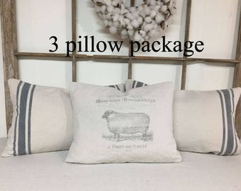 French Grain Sack Pillow Set, Grain Sack Pillow Set, Grain Sack Pillows, French Grain Sack Pillows, Farmhouse Pillows, Decorative Pillows,