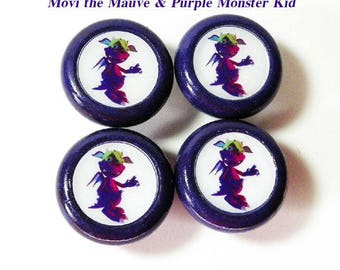 Kids' Knob Set of 4 Featuring 'Movi' the Smiling Monster Kid. Colorful Wooden Knobs for Kids Dresser Drawers-Nursery-Playroom. New Baby Gift