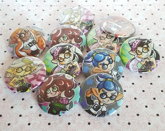 """1.5"""" Splatoon Button Set-Inklings, Callie, Marie, and Octoling"""