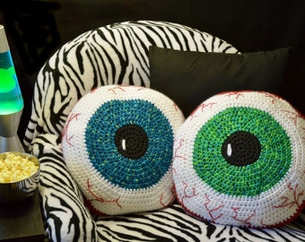 Crochet Pattern, Bloodshot Eyeball Pillow - Creepy and fun decorating for Halloween or Children Tweens Teens Rooms INSTANT PDF DOWNLOAD