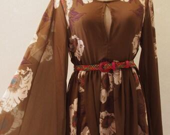 USD20 SALE - Boho Dress, Maternity Dress Bohemian Tunic Dress, Chiffon Olive Dress, Bell Sleeve Boho Floral Dress US4-US8