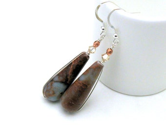 Kanawaba Jasper Sterling Silver Aqua Rust Teardrop Dangle Earrings  For Her Under 70 US Free Shipping Gift Wrap