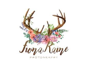 Premade Logo Boho Photography Logo Watermark Business Branding Photography Watermark Logo Rustic Logo Blog Logo Antlers Floral Watercolor