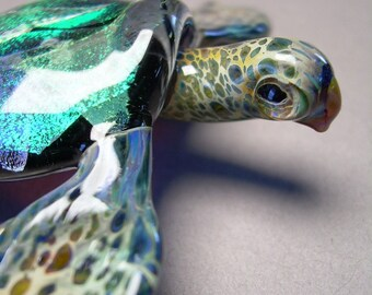 Sea Turtle with sea glass or beach glass dichroic turtle shell with lamwork art