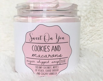 Cookies & Macarons, Sugar Whipped Soap, Sugar Scrub, Whipped Soap, Soap, Bath and Beauty, Bath, Body Polish, Exfoliate,