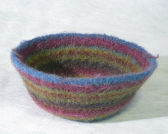 Striped felted bowl