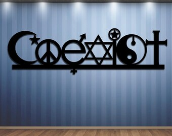 COEXIST - Metal Sign - Steel Sign - Metal Art